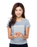 Asian woman use of tablet Royalty Free Stock Images