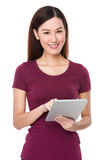 Asian woman use of tablet Stock Photography