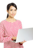 Asian woman using laptop Royalty Free Stock Images