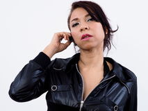 Asian woman using wireless headset Royalty Free Stock Images