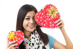 Asian woman valentines day Stock Photo