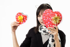 Asian woman valentines day Stock Images