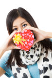 Asian woman valentines day Stock Photos
