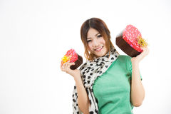 Asian woman valentines day Royalty Free Stock Photos
