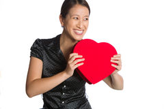 Asian woman very happy with valentines heart Stock Photos