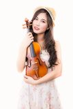 Asian woman and violin Royalty Free Stock Photo