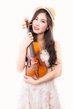 Asian woman and violin Royalty Free Stock Photo