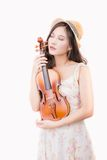 Asian woman and violin Stock Image