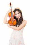 Asian woman and violin Stock Photos
