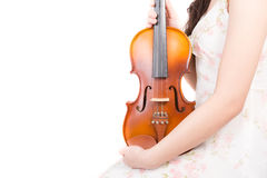 Asian woman and violin Stock Images