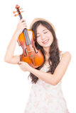 Asian woman and violin Royalty Free Stock Photography