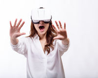 Asian woman in virtual reality headset stock photography