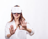 Asian woman in virtual reality headset stock image