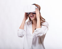 Asian woman in virtual reality headset stock photo