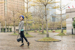 Asian woman walk at street Royalty Free Stock Images