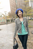 Asian woman walk at street Stock Photos
