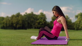 Asian woman warming up before fitness training. Fitness woman in sport clothe stock video footage