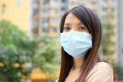 Asian woman wear face mask Royalty Free Stock Photos