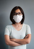 Asian woman wear medical mask. Stock Photo