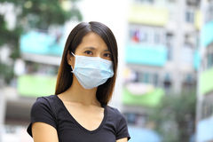 Asian woman wear protective face mask Stock Photography