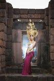 Asian woman wearing cambodia traditional dress Stock Photo