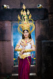 Asian woman wearing cambodia traditional dress Royalty Free Stock Photo