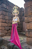 Asian woman wearing cambodia traditional dress Royalty Free Stock Image