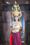 Asian woman wearing cambodia traditional dress Royalty Free Stock Photography