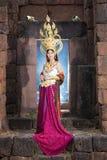 Asian woman wearing cambodia traditional dress Stock Image
