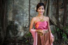 Asian woman wearing dress traditional Thai costume ,beautiful wo. Man thai in the past Stock Images