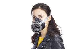 Asian woman wearing gas mask Royalty Free Stock Image