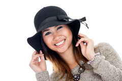 Asian woman wearing hat Stock Photos