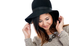 Asian woman wearing hat Royalty Free Stock Image