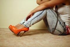 Asian woman wearing heels Royalty Free Stock Photos