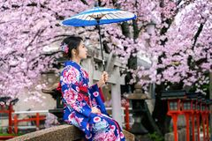 Asian woman wearing japanese traditional kimono and cherry blossom in spring, Kyoto temple in Japan royalty free stock photography