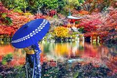 Free Asian Woman Wearing Japanese Traditional Kimono In Daigoji Temple, Kyoto. Japan Autumn Seasons. Stock Photography - 181395052