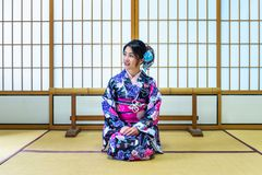 Asian woman wearing japanese traditional kimono in Japan.  Stock Image