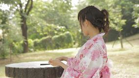 Asian woman wearing a kimono in front of Japanese wooden windows stock video