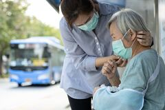 Free Asian Woman Wearing Medical Face Mask For Senior Person Because Sick Female Elderly With Cough And Fever,prevent Spread Of Germs Royalty Free Stock Photography - 171117297