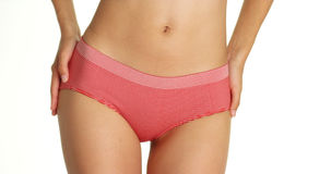Asian woman wearing red striped underwear Stock Photography