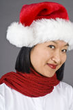 Asian Woman Wearing Santa Hat Royalty Free Stock Photography