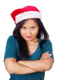 Asian Woman Wearing Santa Hat Stock Photo