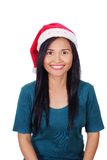 Woman Wearing Santa Hat royalty free stock images