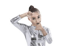 Asian woman wearing silver latex suit Stock Photos