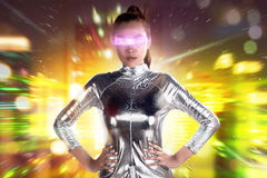 Asian woman wearing silver latex suit. Futuristic concept image Stock Photo