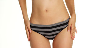 Asian woman wearing striped underwear Royalty Free Stock Photography