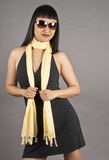 Asian Woman Wearing Sunglasses and Polka Dot Dress Royalty Free Stock Image