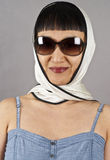 Asian Woman Wearing Sunglasses and Silk Scarf Royalty Free Stock Photography