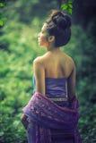 Asian woman wearing Thai Lanna series, identity culture of Thail Stock Photos