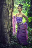 Asian woman wearing Thai Lanna series, identity culture of Thail Stock Images